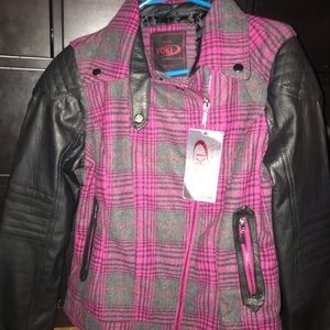 Pink Plaid and Leather Moto Jacket